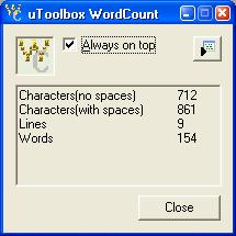 Word Count Software Tool Screenshot